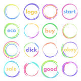 Round button. Set of logos circular, colorful round buttons, blank icons Stock Photos