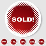 Round Button Set - Sold. Set of 6 round buttons - - sale/sold tags Royalty Free Stock Images