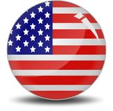 I love America. Round button shape filled by American flag. This is an illustrated vector image that can be use as a icon,button or badge Stock Photos
