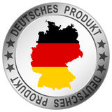 Round quality button German product. Round button with silhouette of germany and text German product & x28;in german& x29 royalty free illustration