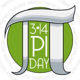 Pi Day Commemoration with Round Button and Silver Symbol, Vector Illustration. Round button with silver pi symbol and its numeric value around this to vector illustration