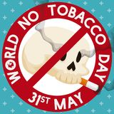 Skull Smoking inside a Banning Symbol for No Tobacco Day, Vector Illustration. Round button with a skull smoking a cigarette inside of it like a banning symbol Stock Photography