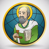 Round Button in Stained Glass Style with Saint Paul Image, Vector Illustration Stock Images