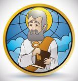 Round Button in Stained Glass Style with Saint Peter Image, Vector Illustration Royalty Free Stock Image
