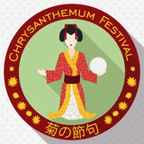 Round Button with Traditional Woman Chrysanthemum Doll in Flat Style, Vector Illustration Royalty Free Stock Photography