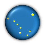 Round Button USA State Flag of Alaska Stock Image