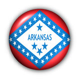 Round Button USA State Flag of Arkansas. USA States Flag Button Series - Arkansas (With Clipping Path stock illustration