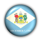 Round Button USA State Flag of Delaware Stock Image