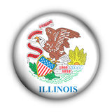 Round Button USA State Flag of Illinois Stock Photography