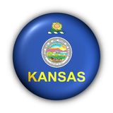 Round Button USA State Flag of Kansas Stock Image