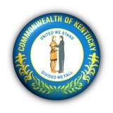 Round Button USA State Flag of Kentucky Stock Image