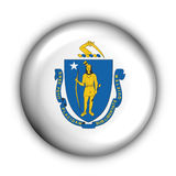 Round Button USA State Flag of Massachusetts Stock Images