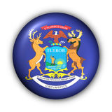 Round Button USA State Flag of Michigan Royalty Free Stock Photography