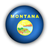 Round Button USA State Flag of Montana. USA States Flag Button Series - Montana (With Clipping Path Royalty Free Stock Photo