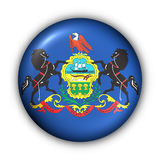 Round Button USA State Flag of Pennsylvania Royalty Free Stock Photo