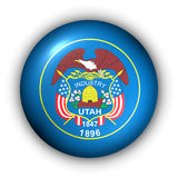 Round Button USA State Flag of Utah Royalty Free Stock Photo