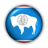 Round Button USA State Flag of Wyoming Royalty Free Stock Images