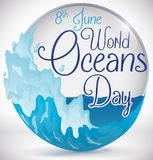 Round Button with Waves View to Commemorate World Oceans Day, Vector Illustration Royalty Free Stock Image