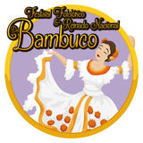 Round Button with Woman Dancing Bambuco and Celebrating Colombian Festival, Vector Illustration Royalty Free Stock Photography