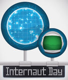 Round Buttons Connected to the Web to Celebrate Internaut Day, Vector Illustration Stock Image
