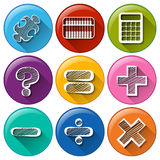 Round buttons with the different mathematical symbols Stock Photo