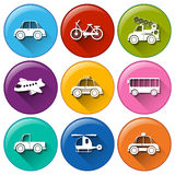 Round buttons with the different transportations Stock Image