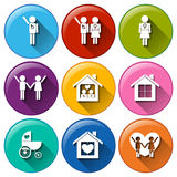 Round buttons for family planning Stock Photos
