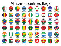 Round buttons with flags of Africa. Set of round buttons with flags of Africa vector illustration Stock Images