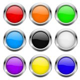 Round buttons. Glass colored icons with chrome frame. Vector 3d illustration vector illustration
