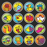 Round buttons with painted animals Royalty Free Stock Photography