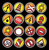 Round buttons on repair of roads Royalty Free Stock Photo