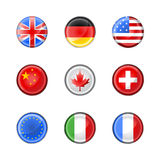 Round buttons set-flags Stock Images