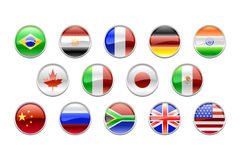Round buttons set-flags (G14) Stock Photo