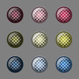 Round buttons. Set of round glass buttons with a checkerboard pattern Royalty Free Stock Photo