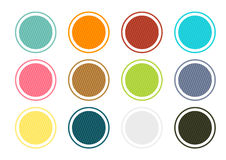 Round buttons set. Set of 12 isolated rounded buttons in vintage colors Royalty Free Stock Photo