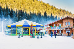 Round cafe at Bunderishka polyana, ski resort Stock Images