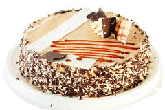 Round cake with chocolate decorations Royalty Free Stock Image