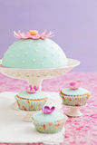 Round cake and cupcakes decorated with fondant and gum paste flowers Stock Image