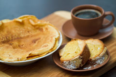Round cake slice with pancake and coffee Stock Photography