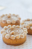 Round cakes with caramel and nuts stock photography