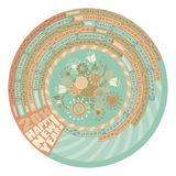 2014 Round Calendar. 2014 Circular, spiral calendar with highlighted Mondays royalty free illustration