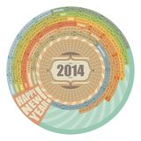 2014 Round Calendar. Circular, spiral 2014 calendar with highlighted Sundays stock illustration