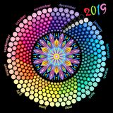 Round calendar 2019 in the colors of the spectrum on black background. Royalty Free Stock Photography