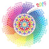 Round calendar 2019 in the colors of the spectrum on white background. Stock Image