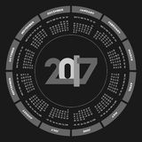 Round calendar 2017 design. Week starts on Monday Royalty Free Stock Images