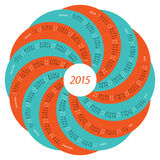 2015 round calendar. English round calendar for 2015 orange and turquoise on white background Royalty Free Stock Photo