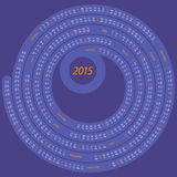 2015 round calendar. English calendar for 2015 on spiral shape blue and orange Vector Illustration