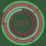 2015 round calendar. English calendar for 2015 on spiral shape on dark green Royalty Free Illustration