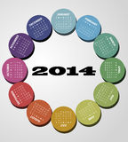 2014 round calendar. Illustration of 2014 color round calendar stock illustration