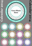 Round calendar 2014. Illustration of 2014 color round calendar, with blank space for your images vector illustration